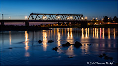 Railway Bridge - Deventer (Hans van Bockel) Tags: blauw nikon d7200 1024mm groothoek wide angle raw nef statief tripod vanguard alta pro deventer spoorbrug railway bridge brug rivier ijssel river water uiterwaarden kribben le long exposure nightshot blue hour blauwe uur lichten spiegeling reflectie lightroom photoshop