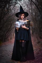 Witch (Ash and Debris) Tags: wood night smoke magic woods mystical darkness evening light hat girl spells forest book spell witch dark fire beauty sorceress