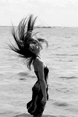 Rise (B&W) (ValRunsPhotography) Tags: ocean white black beach water girl hair outdoors photography flip