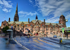 After The Rain ! (Whitto27) Tags: shadow sky people panorama cloud reflection bus wet girl car sunshine rain hall nikon women traffic cathedral bright pov free vivid stop coventry guild hdr blus d5100 whitto27