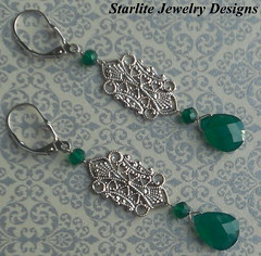 Green Onyx Vintage Filigree Earrings ~ Briolette (Naomi King) Tags: fashion indy jewelry trendy designs accessories earrings 2012 americanmade handmadejewelry madeintheusa indiefashion affordableluxury finefashionjewelry trending starlitejewelrydesigns indyjewelry