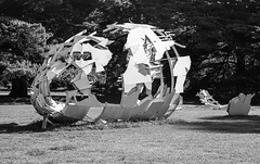 Airplane Sculpture (chuckyccs) Tags: bw sculpture film airplane aircraft voigtlander bessar werribeemansion homedeveloped caffenol 75mmf25