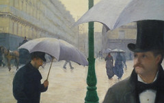 Gustave Caillebotte, Paris Street; Rainy Day, figures perched on shoulder