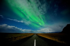 Warp Speed Ahead (twoeyes) Tags: road sky cloud iceland visuals twoeyes northernlights auroraborealis ringroad hvannadalshnjkur