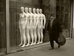 enfilade (R. O. Flinn) Tags: street man paris sepia mannequins sidewalk enfilade