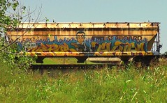 KEPOS & SKUPA (BLACK VOMIT) Tags: boy man car train graffiti character cartoon grain scuba off dude hopper freight sawed grainer scupa kepos scupe scup3 scub3 shotgoun