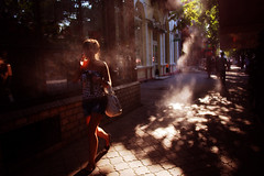 On fire (Che-burashka) Tags: summer girl smoke odessa ukraine urbanlyric