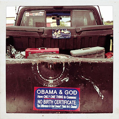 OBAMA & GOD (FotoEdge) Tags: usa crazy election midwest god jobs rusty tools missouri cracker spare redneck roadside trump magical hillbilly rightwing obama crusty teaparty hayseed nra whitetrash handicapped 2012 junker classy clunker palin ignorant junkman nhr fotoedge hoarders birther jobcreator