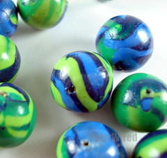 Green and Blue  Polymer  Clay Beads With A Glossy Finish (PolyzWired) Tags: glossy polymerclay handcrafted etsy supplies swirly jewlry greenbeads handmadebeads roundbeads polymerclaybeads beadingsupplies beadsupplies shinybeads