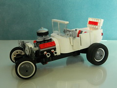 Classic 1950's t-Bucket (J0n4th4n D3rk53n) Tags: red white rumble lego seat hotrod 1950 v8 whitewall tbucket classic1950stbucket