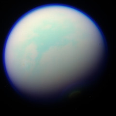 Titan on the side (Val Klavans) Tags: cloud moon color composite clouds solar haze image atmosphere science system september nasa val filter planet mission astronomy planetary 28 saturn titan rgb ssi jpl valerie huygens cassini 2012 flyby methane astrobiology t86 klavans rev172