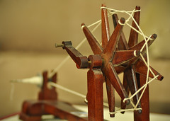 Charkha (Bhaskar Dutta) Tags: india thread wheel movement spin yarn cotton gandhi spinning independence spindle ahmedabad mahatma fibre gandhiji charkha