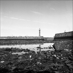{{  R is for ... Reflections in Rockpools  }} (aiherzen) Tags: bw lighthouse 120 6x6 tlr film reflections river square whitby hp5 13 ilford yashica film26 rockpools yashicamat esk yashinon microphen 23mins