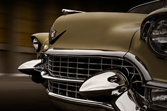 """Caddy Grin"" (Neil Banich Photography) Tags: cars 1955 car yellow vintage automobile gm artistic cadillac grill chrome hood custom deville hotrods caddy autoart artcool 1955cadillac carscool neilbanichphotograhy hotrodscoupe"