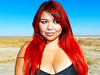 Red Haired Candy at Harper Dry Lake (TheJudge310) Tags: california blue red portrait woman usa colors girl yellow hair long candy desert bright redhead primary lockhart nikoncoolpixp500