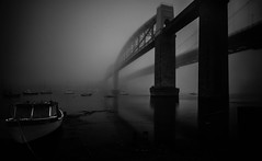 Fog on the river (NikNak Allen) Tags: plymouth devon saltash cornwall boat boats foggy weather low under morning bridge bridges black white blackandwhite water brunel trainbridge roadbridge shadows architecture brick metal