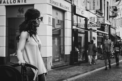 Project 366 - 233/366: Looking back (sdejongh) Tags: 233366 366 blackandwhite brussels city glasses instadaily instalike monochrome mood mother people photography picoftheday project shops street summer urban woman