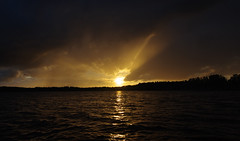 Sunset over lake (pentars) Tags: sunset light sun evening yellow lake reflection scenery view landscape beautiful night beam pentax k5ii sigma 1020 35