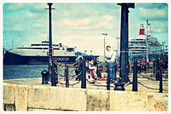 Manannan Catamaran to Isle of Man and Boudicca, Fred Olsen Liner in Background, River Mersey, Liverpool 29.8.16 (4) (bobbex) Tags: boudiccafredolsen boudicca cruiseship cruiseliner merseyside water samsungnx50200mmf456