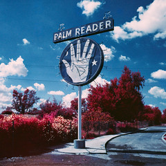 palm reader (color infrared). fowler, ca. 2016. (eyetwist) Tags: eyetwistkevinballuff eyetwist palmreader sign colorinfrared california film analog aerochrome eir mamiya 6mf 50mm kodak color infrared ir ishootfilm e6 slide mamiya6mf mamiya50mmf4l kodakaerochromecolorinfraredeir ektachrome ishootkodak analogue mamiya6 square 6x6 120 primes filmexif iconla epsonv750pro mediumformat medium format false red 099 infracolor filter lenstagger magenta blue fowler fortune teller psychic crystalball fresno roadsideamerica signgeeks typography typographic type lettering highway ca99 selma centralvalley future past ouija hand palm round neon clouds cloudporn