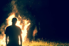Burn (Tim Drivas) Tags: bonfire selfportrait fire night silhouette person