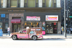 Dunkin Delivery (Flint Foto Factory) Tags: chicago illinois urban city summer august 2016 downtown loop dunkin donuts 33 wjacksonblvd jackson dearborn intersection store front delivery truck chevrolet chevy colorado side profile sign signage morning am rushhour commute doubleparked open 24hours