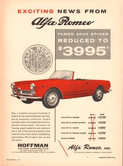 1961 Alfa Romeo 2000 Spider Advertisement Car and Driver December 1961 (SenseiAlan) Tags: 1961 alfa romeo 2000 spider advertisement car driver december