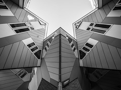 kaleidoscope (Blende1.8) Tags: cubehouse kubushuser rotterdam urban architectural architektur architecture modern contemporary symmetry symmetrie carstenheyer sony ilce7m2 a7m2 a7ii voigtlnder voigtlaender black white schwarz weiss mono monochrome monochrom building gebude geometrie geometry noiretblanc