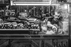 Hot Dog Vendor (danperezfilms) Tags: timessquare newyorkcity newyork nyc blackandwhite streetphotography hotdogcart