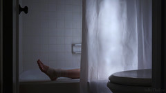 Resting until star-rise (InByTheEye) Tags: bathtub ankle bandage wrap water shine showercurtain night blue fantasy yvaine photoseries stardust star photoshop sony starlight