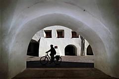 La ragnatela (meghimeg) Tags: 2016 glorernza portico arcade uomo man bicicletta bike arco arch estate summer vacanze holidays street streetshot