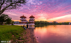 Sunset at chinese garden ,singapore (jaywu429) Tags: sony singapore sonya7r sky skyline sonycamera sunset red people towers chinesegarden lake landscape longexposure lakeside beautiful beauty nature sony1635mmf4 zeiss outdoor dusk twilight capture asia clouds