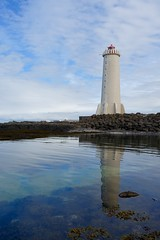 Phare d'Akranes (Iris_14) Tags: iceland islande akranes akranesviti phare lighthouse atlantic atlantique breiin vesturland reflection reflet water eau faxafli