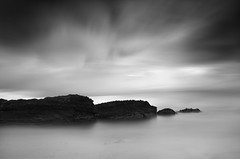 Stepping Stones (annemcgr) Tags: longexposure ireland dublin beach water monochrome clouds rocks le malahide