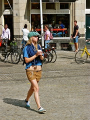 Girl with her coffee. Short !!!! (Franc Le Blanc .) Tags: girl amsterdam walking lumix dam candid panasonic short streetphoto hotpants