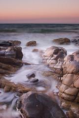 Ocean Swirls (Noosa) (edwinemmerick) Tags: ocean longexposure sunset sea sky seascape motion 20d nature water canon eos coast movement rocks wave australia le slowshutter queensland noosa edwin sunshinecoast emmerick edwinemmerick