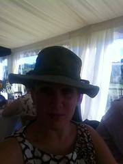 Wearing Simon's hat