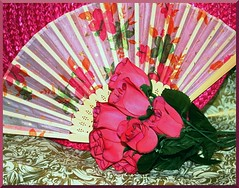 Fan & Flowers in Frame (Crystal Writer) Tags: pink original roses stilllife gold fan photo pretty image creative valentine creation props valentinesday hotpink pinkroses crystalwriter
