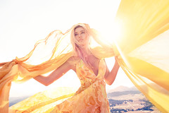 Sun Goddess (Dar.shelle) Tags: california light portrait sun mountains lauren beautiful fashion yellow clothing movement model natural wind goddess stevens flare editorial cloth lunday 5dmarkii darshelle