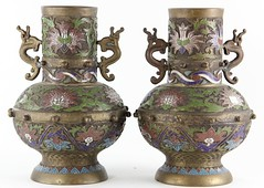 90. Pair of Unusual Champleve Vases