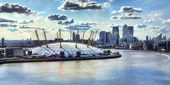 The O Arena/Millennium Dome (Lens Blur) Tags: nikon o2 hdr millenniumdome greenwichpeninsula photomatix d7000 topazadjust oarena greenwichcablecar emiratesthamescrossing
