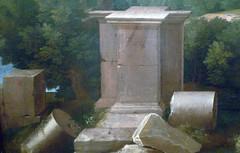 Poussin, Landscape with Saint John on Patmos, detail with pedestal