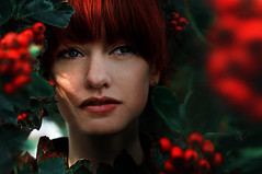 about Polly (laura zalenga) Tags: red woman tree green nature girl beautiful face leaves hair berry pretty branch close cardiff lips polly laurazalenga