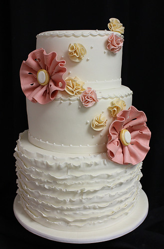 Small Ruffles and Fabric Flowers Wedding Cake