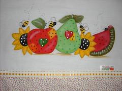 Pano de prato Frutinhas (Pintura em tecido. Panos de prato.) Tags: panosdeprato