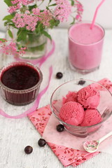 Black currant Ice Cream with Black currant smoothie (Fiery-Phoenix) Tags: wood pink food glass vertical table dessert melting cream spoon icecream tasting smoothie thick sorbet scoop indulgence freshness wealth healthyeating frozendessert raspberrysorbet healthylifestyle sweetfood healthydessert blackcurrantsorbet blackcurranticecream blackcurrantsmoothie
