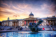 National Gallery (almonkey) Tags: london fountain statue museum photoshop nikon central trafalgarsquare nationalgallery handheld postprocess hdr d800 28mmf18 civicarchitecture photomatix hyperrealist freeentry 5xp nikond800