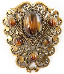 1025. Large Vintage Glass Shield Pendant Brooch, Germany