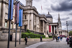The National Gallery, London (Sterling750) Tags: street england people london architecture buildings square bury gallery sony trafalgar sigma piccadilly national trocadero tone hdr slt mapped a35 18200mm