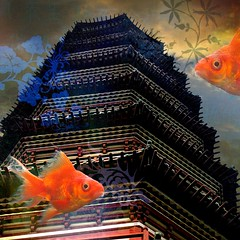 imagination vs experience. (Photomaginarium) Tags: china inspiration texture collage canon pagoda marine gimp powershot experience layer imagination photoart odc jacquescousteau sx30 ourdailychallenge odc3 geekbehindthecurtain photomaginarium imaginationvsexperience digitalagerecessionerafolkart
